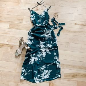 Dynamite Green Floral Midi Dress Sz XS